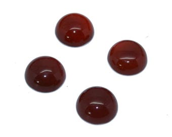 4 cabochons 12mm red agate flat back