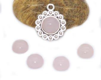 2 cabochons 08 mm rose quartz