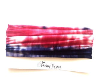 Red and Navy Wide Cottom Boho Stretchy Headband
