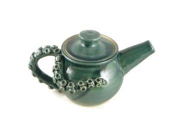 Teal Octopot - Octopus teapot - teapot - octopus lovers tea pot - mermaid