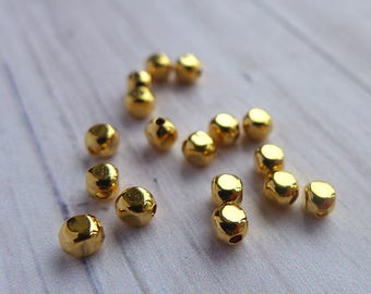 Gold plated brass beads 3mm -Square rounds- 10pcs