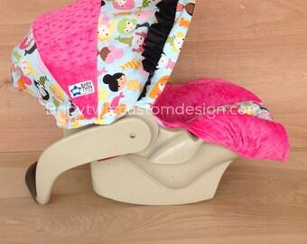 Infant Car Seat Cover- Mermaids/ Hot Pink