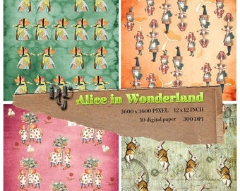 40% Alice in Wonderland Digital Papers, Alice digital paper, Instant Download Alice paper pack for Birthday Baby Shower Party Decoration, #