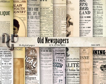 Old Newspapers Digital Paper Pack - Vintage Neswspaper Pages - Old Paper Textures - 16 Vintage Ephemera Papers for scrapbooking, cards  161