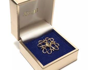 10K Gold Avon Dealer Award Pin Sapphire Robbins With Box