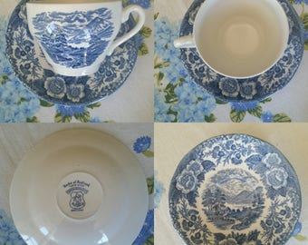 Royal Warwick Lochs of Scotland 'Loch Duich' Bright Blue Teacup & Saucer Set Made in England