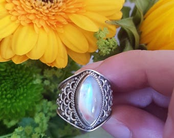 Pink moonstone ring size 6.5 sterling silver