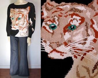Vintage 80s Sweater / Leopard Sweater / Wild Cat Face Sweater / Novelty Sweater