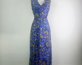 1970s Maxi Dress Floral psychedelic long dress size M