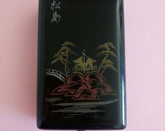 Vintage Japanese Lacquered small box cigarette case cards holder