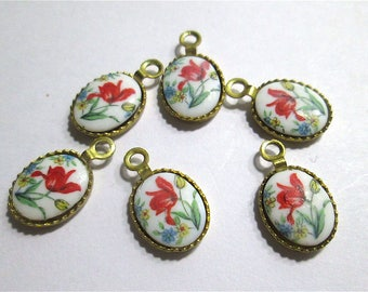 6 Glass Flower Cabochons in Brass Settings