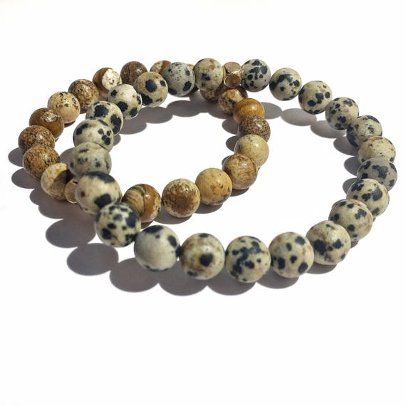 Stress Relief Stack: Dalmation and Brown Paper Jasper beaded Bracelets, Mens, Women, Unisex, Gemstones, Mala, Yoga, Meditation, groom, bride