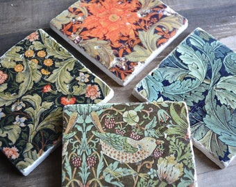 Coaster set - 4 William Morris marble tiles