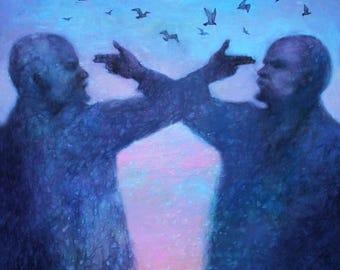 Original Acrylic Painting Lenin. FREE SHIPPING! Acrylic Contemporary painting, Modern wall Art. Acrylic Lenin Portrait.