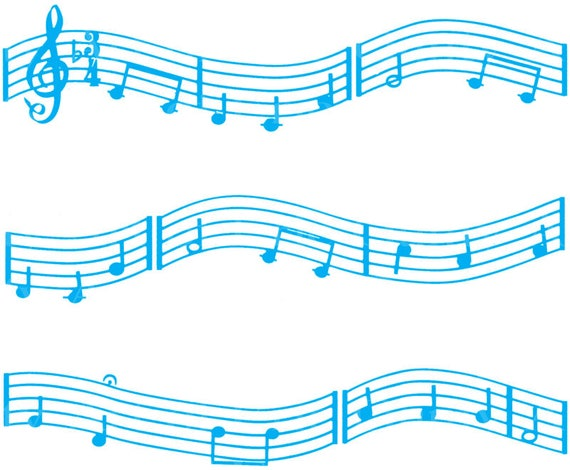 Blue Music Band Notes - Birthday Background - Designer Strips - Edible Cake Side Toppers- Decorate The Sides of Your Cake! - D22677