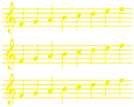 Yellow Sheet Music Band Notes Birthday - Designer Strips - Edible Cake Side Toppers- Decorate The Sides of Your Cake! - D22688
