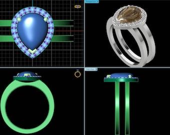 Custom made Engagement ring, custom handmade wedding band, 3D design, made to order, custom rings