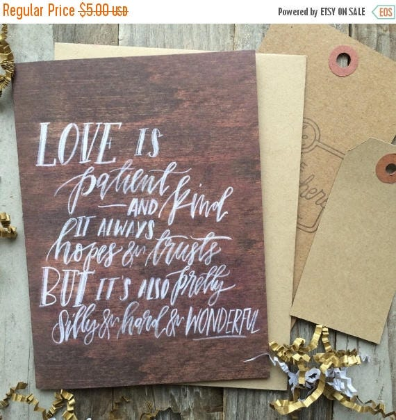 ON SALE Scripture love card for Christians, love is patient, 1 Corinthians 13, rustic chalkboard look card, cards for lovers, husband wife c