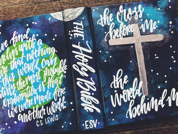 Hand painted bible, personalized Christmas gifts, custom bible cover, global design, bible journaling, C.S. Lewis quote, gift for missionary