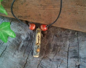 Apple Amulet Necklace, Ogham Pendant, Apple Wood Necklace, Apple, Ogham, Druid, Apple Wood, Apple Tree, Adjustable Necklace