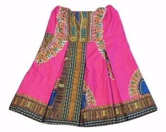 Ethnic African Multi Color Dashiki Pleat Skirt Girls Kids  Size 4/5