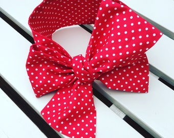 Baby or Girl's Headwrap Big Bow Cotton Headband hair bow in red and white 100% cotton spotty fabric