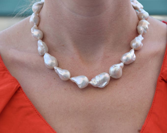 Wedding Freshwater Pearl Necklace-Wedding Jewelry-Bridal Jewelry-Anniversary gift-Birthday present-Mothers necklace-Mothers jewelry-for her