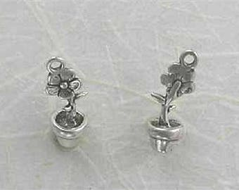 Sterling Silver 3-D Flower in a Pot Charm