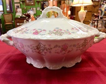 Pink Roses and Forget-me-nots Transfer on Weimar, Germany Porcelain Serving Dish/Soup/Casserole Tureen With Lid