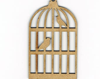 Wood Bird Cage Aviary Shape Decoration Embellishment