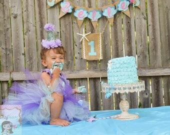 Mermaid Cake Smash Outfit First Birthday Ruffle Bib Party Hat Lavender Mint TUTU