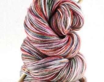 "Hand dyed yarn,  80 / 10 / 10%  Super wash Merino / Cashmere / Nylon, sock yarn, 400 yards, ""Japanese Maple"""