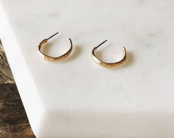 Dead Stock Vintage Minature Gold Minimal Delicate Bamboo Hoop Earrings Hypo Allergenic