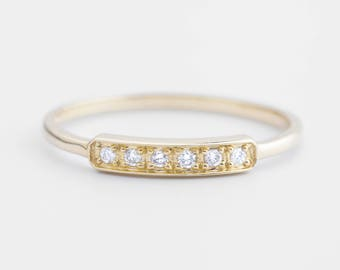 14k gold, white gold, rose gold, pave diamond wedding ring, diamond bar ring,horizontal bar ring, diamond stack rings, bar-r105