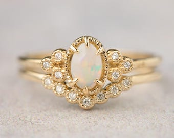 Natural opal engagement ring set, Alternative engagement ring, Oval opal bridal set ring, Solid 14k gold, rose gold, white gold ado-r103-opa