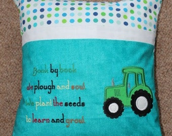 Reading Book Cushion....Green Tractor