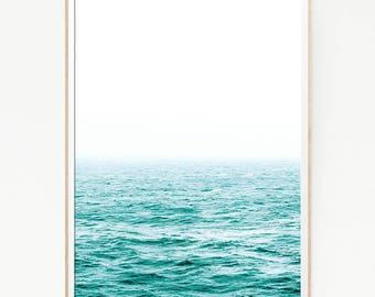 Printable Sea Waves Wall Decor Print Poster Tropical Beach Marine Foam Retro Vintage Colour Photo Nature Sea Minimalist Blue Water 1061
