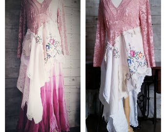 Pink Sunshine Shabby rustic rose embroidered lace tunic gypsy floral antique rustic Boho altered dress top dress L XL