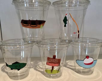 12 oz disposable fishing/the big ONE theme party cups