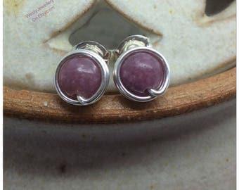 Lepidolite Wire Wrapped Studs Purple Lepidolite Studs Purple Lepidolite Earrings Purple Studs Lepidolite Genuine Gemstone Earrings Handmade