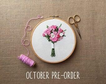 October PRE-ORDER Spot - Embroidered Bridal Bouquet Portrait Custom Hoop Art. Hand Embroidery Floral Keepsake. Wedding Cotton Anniversary.