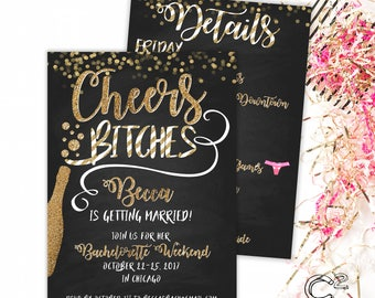 Cheers Bitches Bachelorette Invitation with Itinerary
