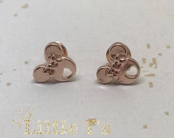Rose gold colour Minnie stud earrings