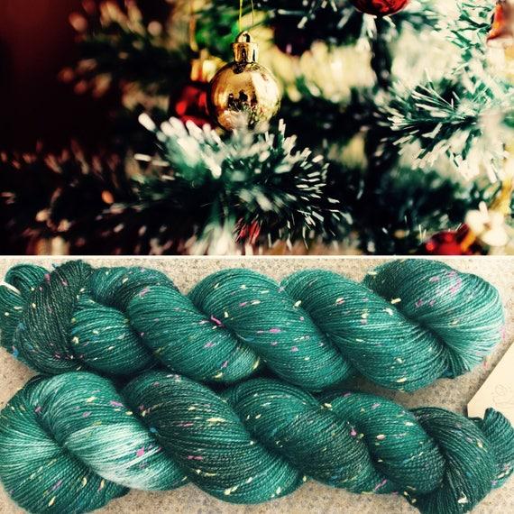 Christmas Tree Donegal Sock, 4ply merino yarn with rainbow neps