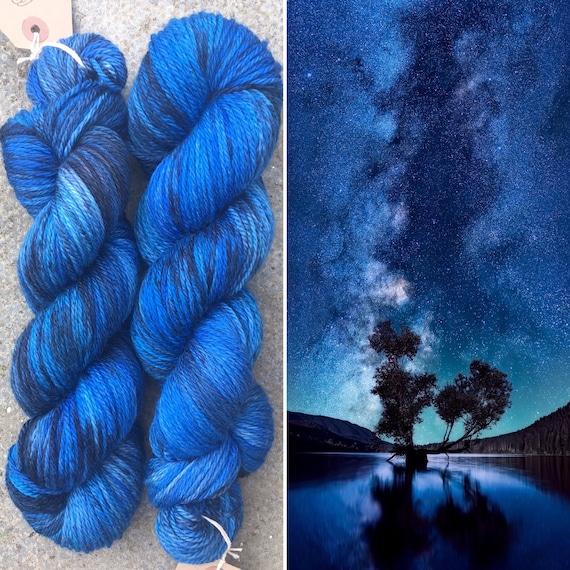Night Sky Aran, indie dyed blue grey merino worsted weight yarn