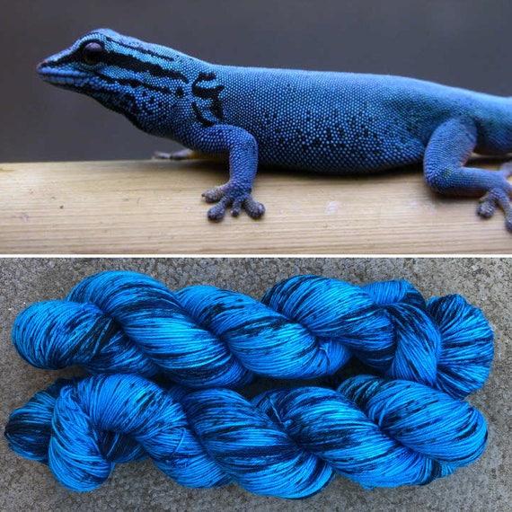 Electric Blue Day Gecko, speckled merino nylon sock yarn