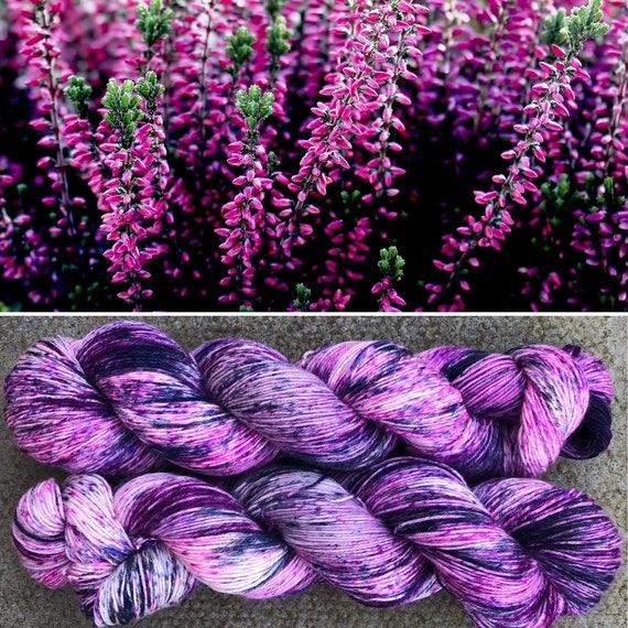 Scottish Heather, speckled pink purple merino nylon blend sock yarn