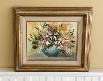 Vintage Floral Still Life Oil Painting in Gold Frame, Artist Signed, Nancy Lee Painting, Shabby Chic, French Country, Cottage