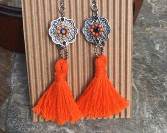 orange tassel earrings bohemian earrings women's earrings ladies earrings gift for her Silver orange blue flower charm dangle drop earrings