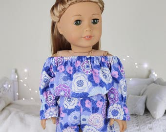 18 inch doll purple floral romper | color of the year